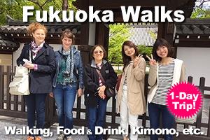 Fukuoka Walks, 1 day trip, walking tour, food and drink tour, kimono dress up.