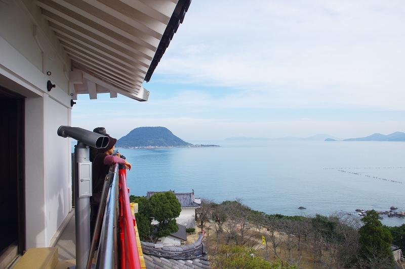 View of Karatsu Bay and Takashima Island from the tower of Karatsu Castle.